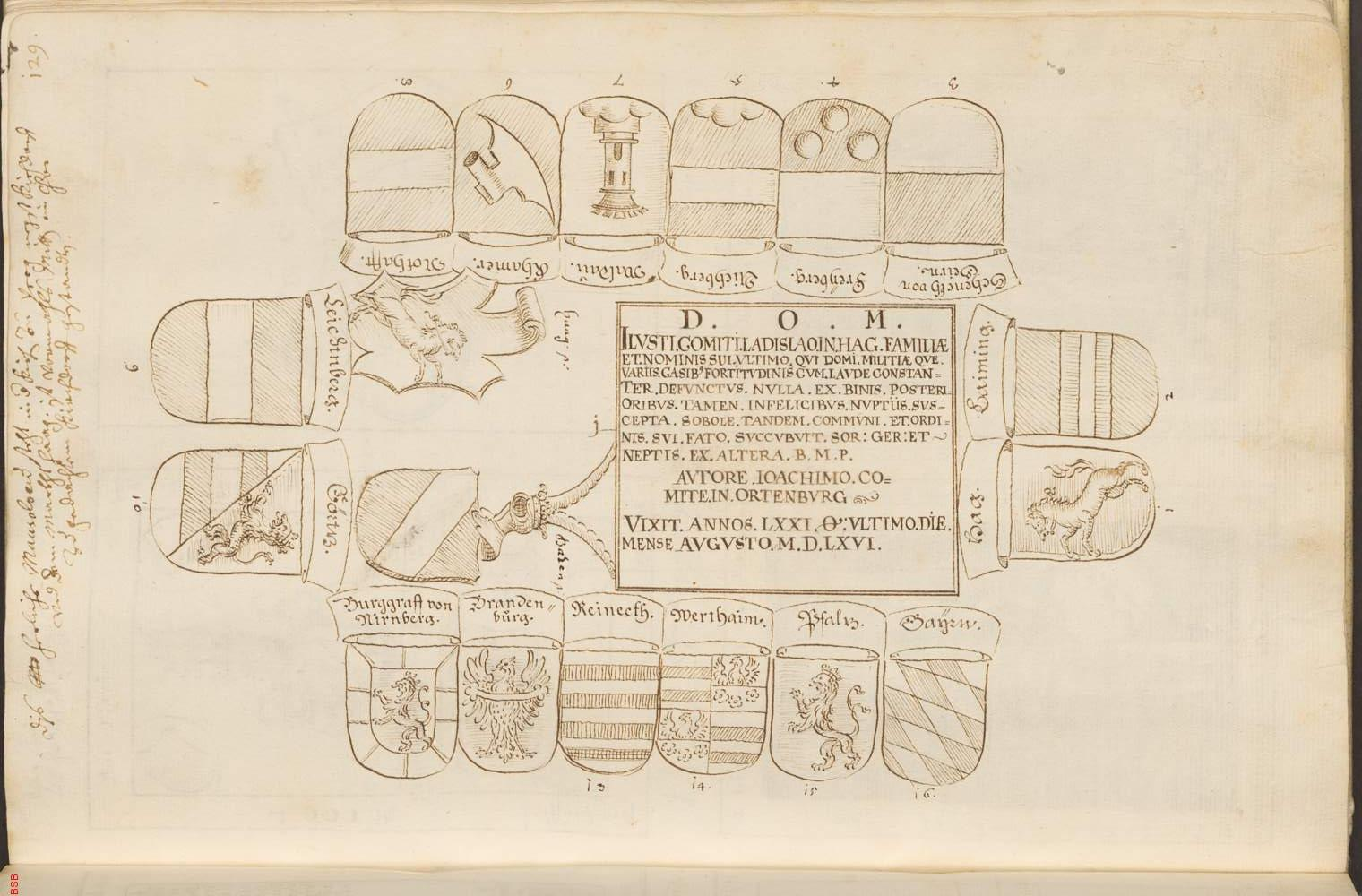 Inschrift am Grabmal BSB, Cgm. 2267 (2), fol. 129 r