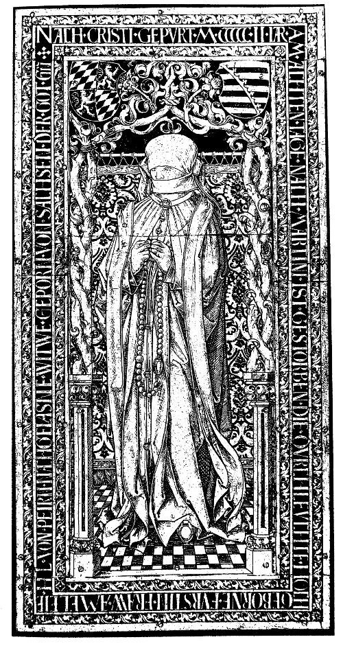Gießhütte der Vischerwerkstatt, Nürnberg: Grabplatte für Amalia von Sachsen, Messing, 1502/03, Fürstenkapelle im Dom zu Meißen.