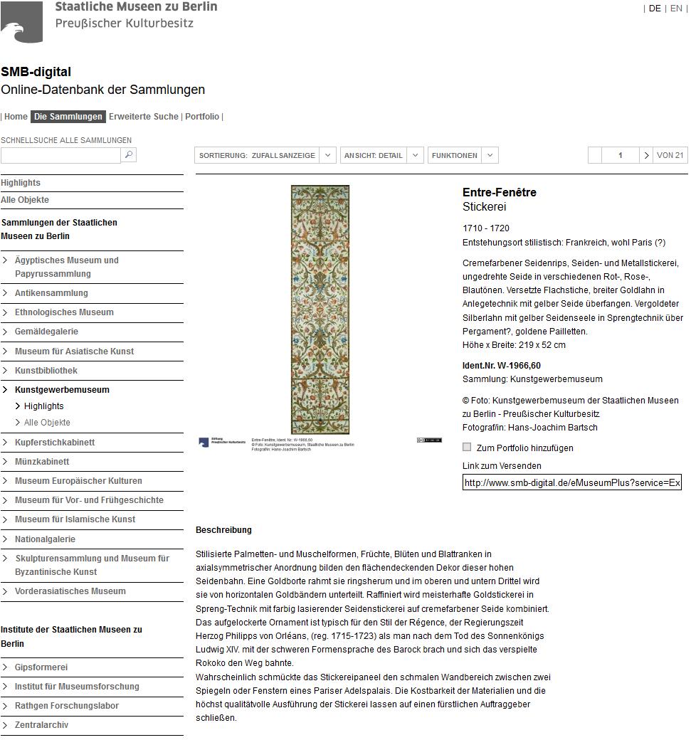 Staatliche Museen Berlin Online Sammlung