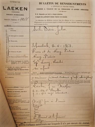 AGR2, Cour d'Assises de Brabant, Case file 1308, Bulletin de renseignement, 1905