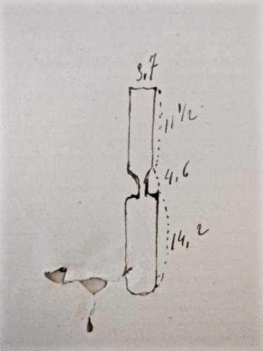 AGR2, Cour d'Assises de Brabant, Dossier 2127, Affaire Bielen. Dessin d'un ciseau de menuisier, 1895.