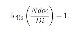 Log2(Ndoc/Di)+1