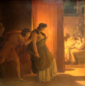 Clytemnestre hésitant avant de frapper Agamemnon endormi