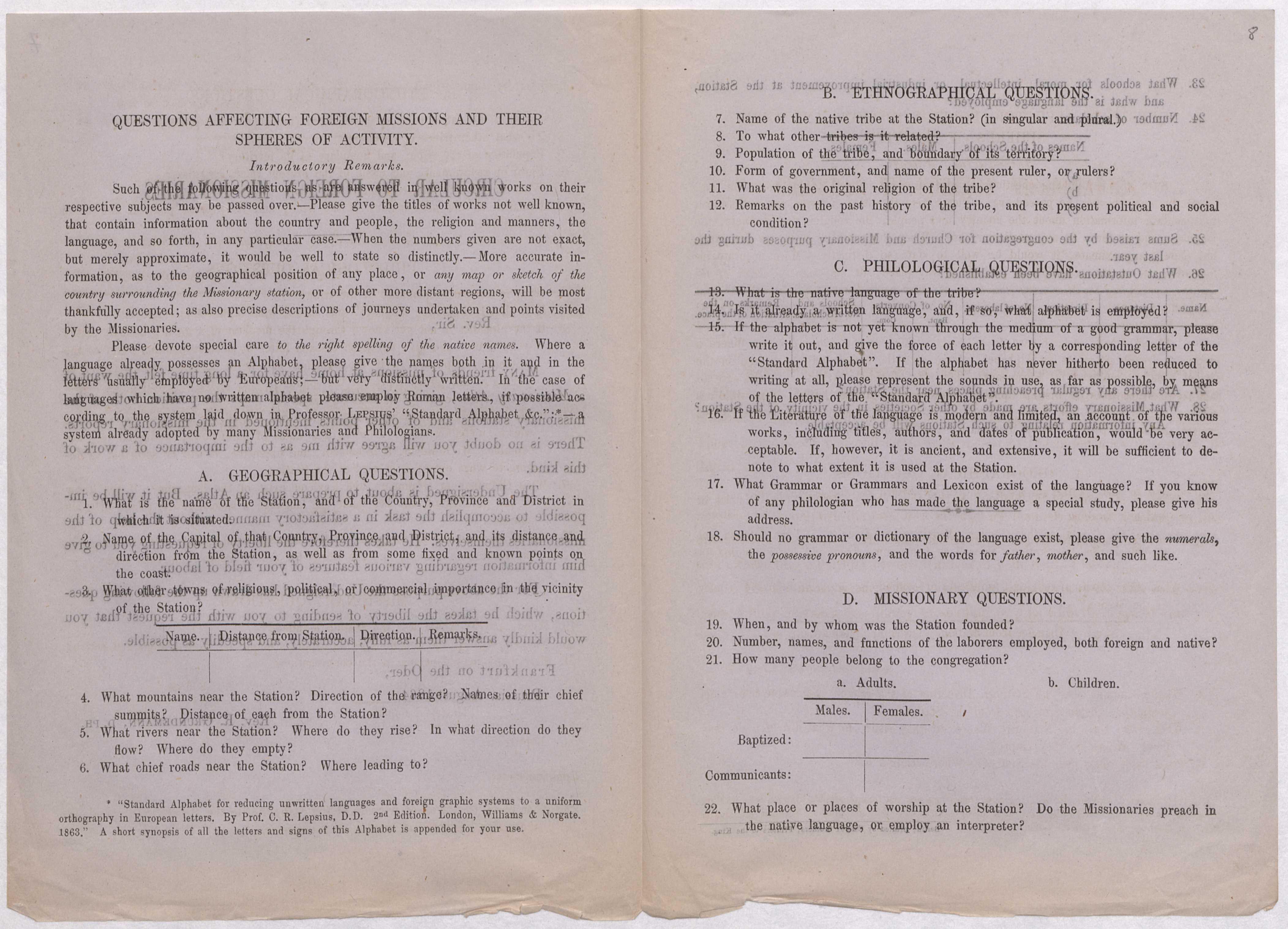 Auszug aus dem von Reinhold Grundemann 1864 versandten Fragebogen an die Missionare.