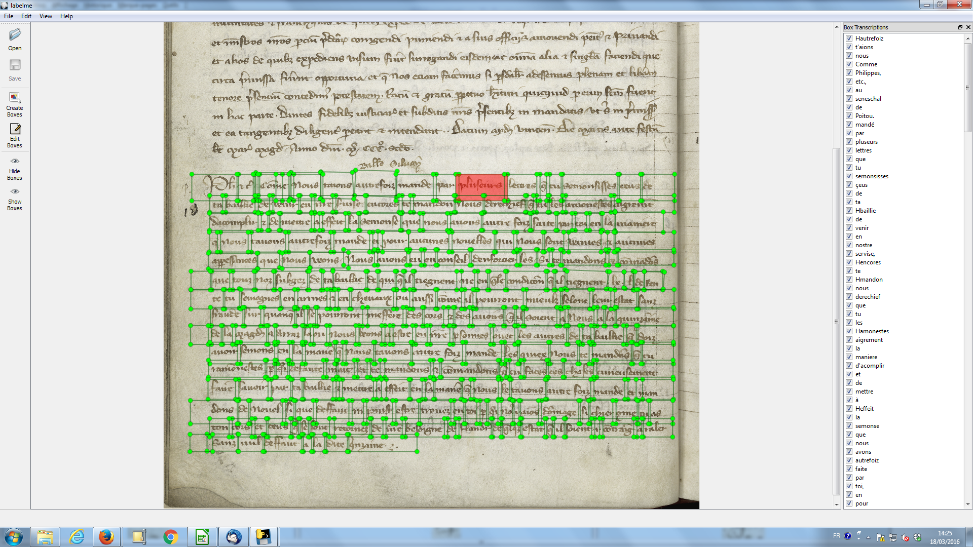 Aligned text and image at word level on Paris, Archives Nationales, JJ 35, fol. 18v