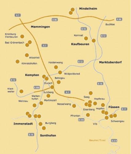 Screenshot der Webseite zur Burgenregion Allgäu ( http://www.burgenregion.de/01_burgen/karten/burgen_karten.html ) Definitiv einen Klick wert - zu den auf der Karte eingetragenen Objekten jeweils weiterführende Infos.
