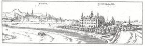 Die Wolfenburg in Kelsterbach. Links im Hintergrund das kurfürstliche Schloss zu Höchst. Ansicht aus Dilichs Hessischer Chronica 1605.