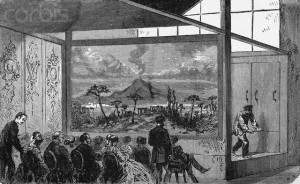 Original caption: Photo shows people watching Daguerre's diorama. Undated illustration. --- Image by © Bettmann/CORBIS