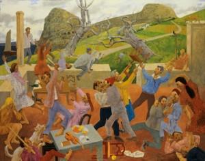 Grégoire Michonze, La rixe, 1966, huile sur toile, 114x146.