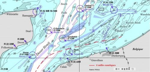 France carte marine noaa Dunkerque Calais 6 milles marin nautique