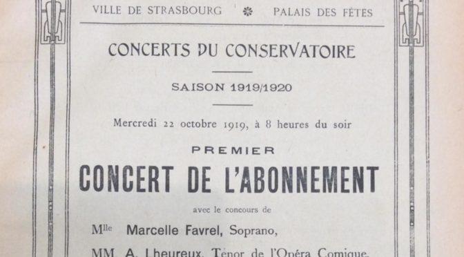 Les Concerts du conservatoire de Strasbourg sous la direction de Ropartz (1919-1929)