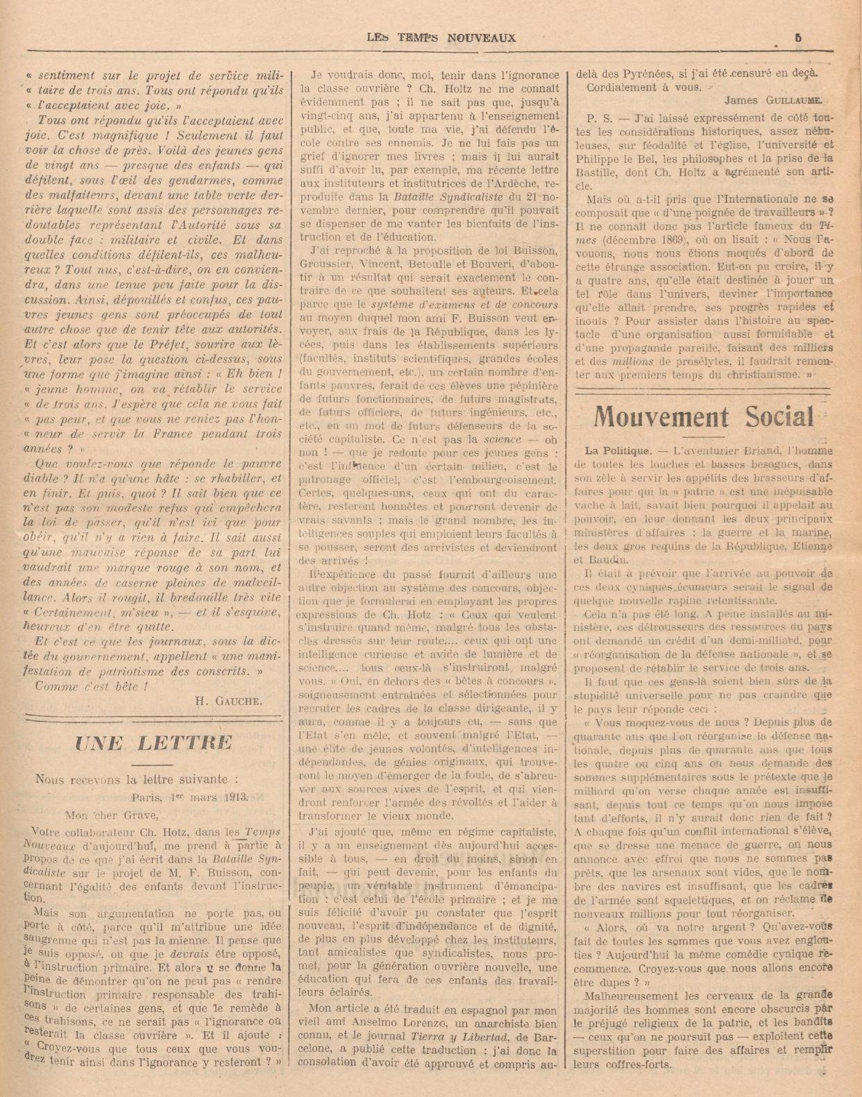 Polémique TN 1913