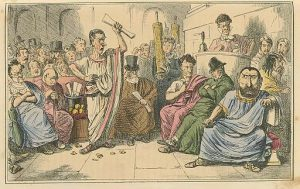 Cicero denouncing Catiline, The Comic History of Rome by Gilbert Abbott A Beckett. Bradbury, Evans & Co, London, 1850s (c) domaine public