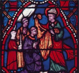 Clermont-Ferrand (Puy-de-Dôme, France), cathédrale Notre-Dame de l'Assomption, panneau N°2 en bas à droite de la verrière de l'histoire de saint Austremoine, évêque de Clermont: Sidoine Apollinaire (c) domaine public
