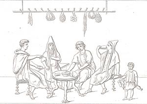 Scène d'auberge - Pompéi, VI 10, 1.19 (gravure du XIXe s.) (c) domaine public