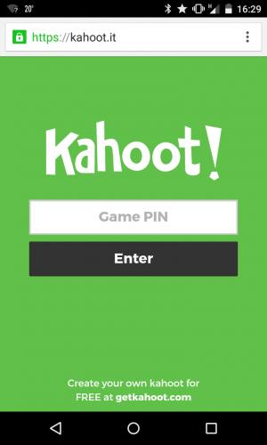 Bildschirm zum Einloggen in das Spiel