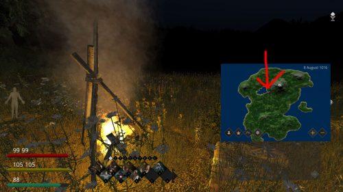 Screenshot des Treffpunkts auf dem Life is Feudal Server zu Beginn der Studie