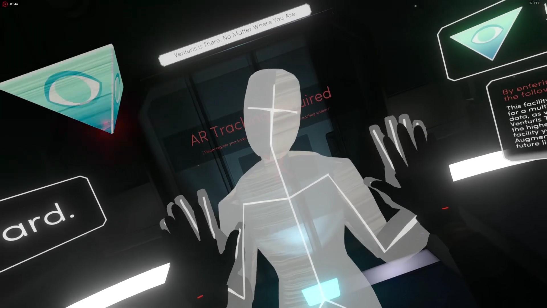"""Oh hey, that's me! - Ein Screenshot aus Tacoma (2017). Spielende blicken durch die Augen des Avatars, Amy, und erkunden eine verlassene Raumstation. Zu Beginn des Spiels wird die Augmented Reality-Umgebung """"kalibriert"""". Der Avatar neigt seinen Kopf, die Sicht ändert sich entsprechend. Aus der realen Welt bekannte Bewegungsmuster, die der Avatar simuliert, erleichtern es Spielenden, die virtuelle Welt leiblich zu erspüren."""