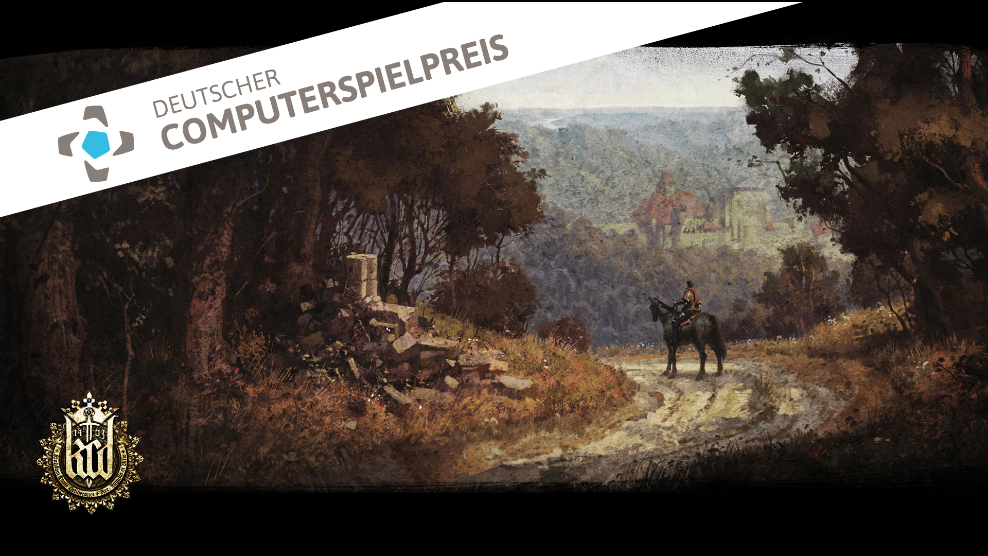 Eine Konzeptzeichnung zu Kingdom Come: Deliverance (Quelle: Pressematerial via Koch Media) und das Logo des Deutschen Computerspielpreises (Quelle: Pressematerial via Quinke Networks). Collage: Felix Zimmermann