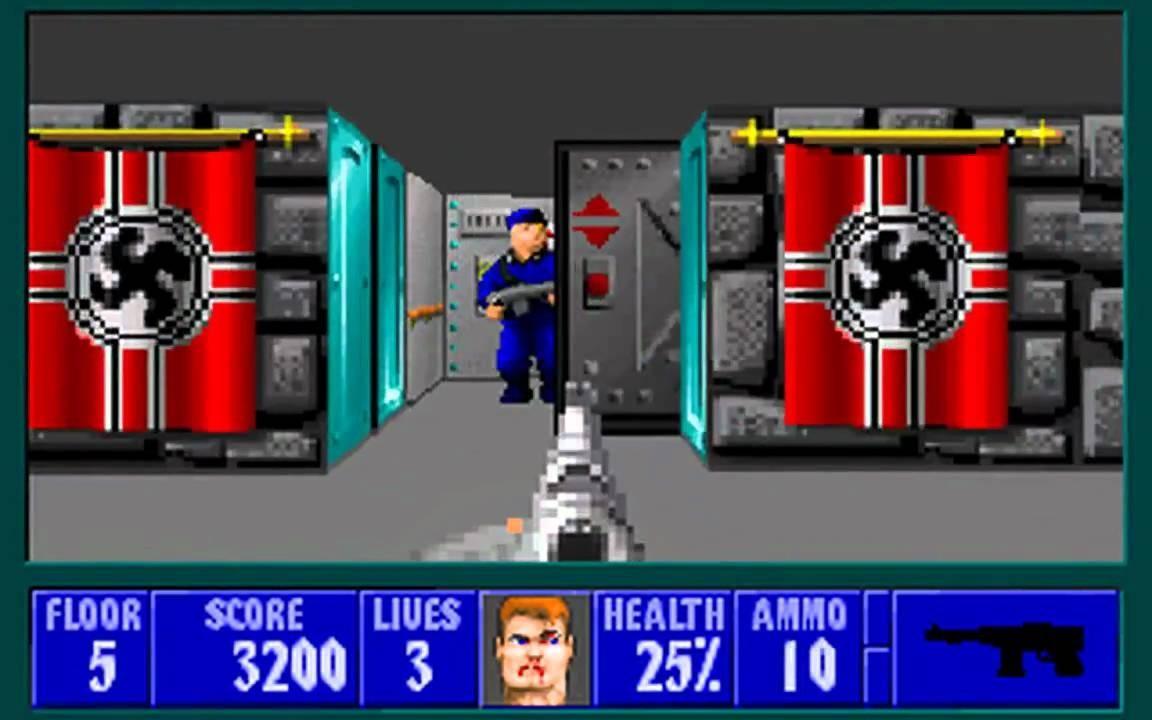 Abb. 1: Die verfassungsfeindlichen Symbole im 'Wolfenstein 3D' (MS-DOS u. a., ID Software, 1992) waren für die Richter*innen des OLG Frankfurt 1998 kaum zu übersehen. (Screenshot aus dem Spiel).