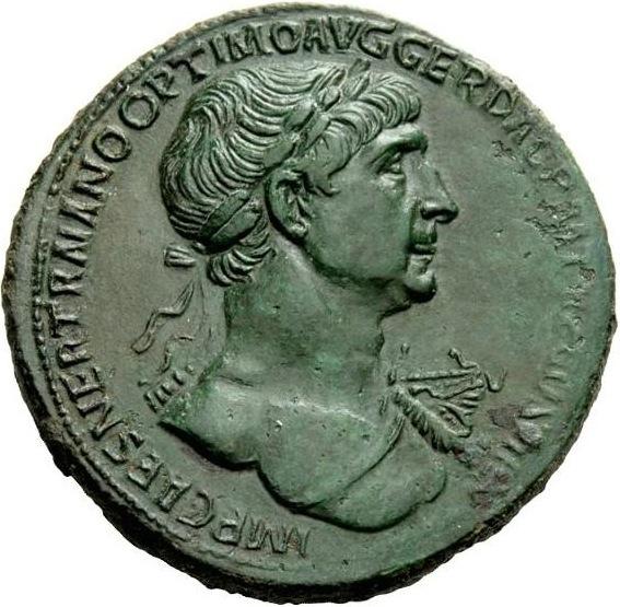 Sesterce de Trajan. Date : 115 p.C., année où débute l'action du livre. Numismatica Ars Classica, Auction 92, Part 1, lot 540