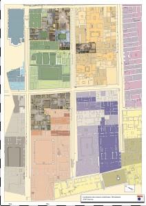 Modèles 3D de cinq maisons positionnés sur le plan d'Herculanum (3D par Archeovision / Plan M.-L. Maraval)