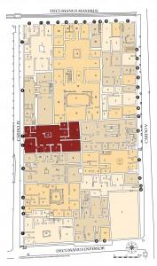 Localisation de la casa di Nettuno ed Anfitrite dans le contexte de l'insula V d'Herculanum (Plan : M.-L. Maraval)