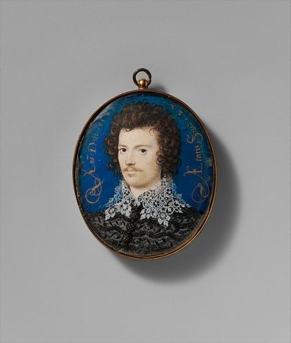 Nicholas Hilliard (British, Exeter ca. 1547–1619 London) Portrait of a Young Man, Probably Robert Devereux (1566–1601), Second Earl of Essex, 1588 Vellum laid on card; Oval, 1 5/8 x 1 3/8 in. (40 x 33 mm) The Metropolitan Museum of Art, New York, Fletcher Fund, 1935 (35.89.4) http://www.metmuseum.org/Collections/search-the-collections/436649