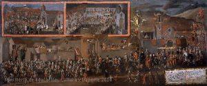 Pérez de Holguín, The Entrance of Don Diégo Morcillo, Viceroy of Peru, in the city of Potosí, in 1716, Bolivia, 1716. Painting, oil on canvas, 240 x 570 cm. Madrid, Museo de América, Inv 00087