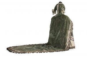 Back view of the green silk velvet court dress, 1780-1790. Mexico, National History Museum of Mexico (MNH). Photograph by Omar Dumaine