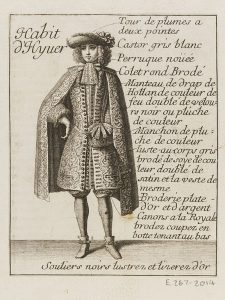 Habit d'hyver, published by the Mercure Galant, January 1678, Jean Lepautre after Jean Bérain. London, Victoria and Albert Museum, Given by Antony Griffiths and Judy Rudoe, E.267-2014.