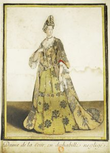 Fashion plate published by Nicolas Ier Bonnart (vers 1637-1718), after a drawing by Robert Bonnart (1652-1733. Print on paper cut out, textile fabric glued on cardboard, and coloured, circa 1690-1700. 290 x 195 mm. Bibliothèque nationale de France, Département des Estampes et de la Photographie, Collection Smith-Lesouëf, 9458