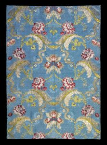 Silk brocaded with three qualities of metal thread and polychrome silks, probably made in Lyon, about 1745-60, acquired from Spain in 1912. London, Victoria & Albert Museum, T.115-1912