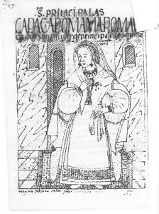 Wives of powerful lords from El primer nueva crónica y buen gobierno, Philipe Guaman Poma de Ayala, 1615. Copenhagen, Kongelige Bibliotek, p. 757 (KB p. 771). A noble woman from Cusco is wearing colonial dress, head-cloth and a traditional mantle.