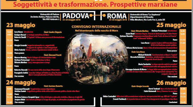 24-26.05.2018 Convegno per il bicentenario della nascita di Marx. Padova/ Roma
