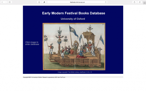 Early Modern Festival Books Database. Page d'accueil.