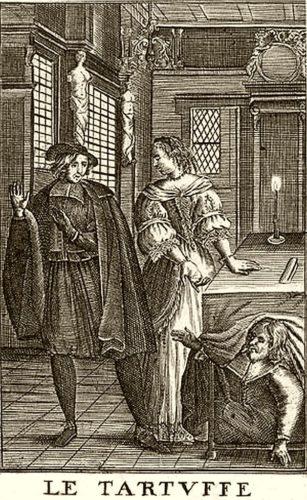 Organ sort de sous une table pour surprendre Tartuffe faisant la cour à sa femme.