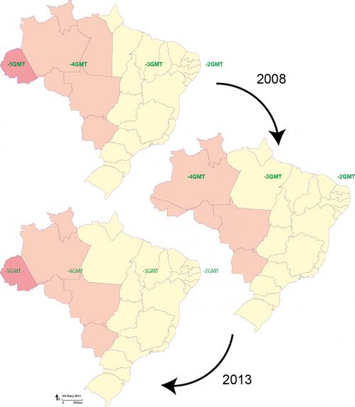 Fusos horarios 2008 e 2013