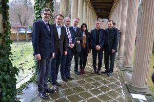 Von links nach rechts: Prof. Hartmut Dorgerloh, Dr. Heinz Buri, Staatssekretär Martin Gorholt, Dr. Jürgen Luh, Truc Vu Minh, Prof. Iwan D'Aprile, Prof. Oliver Günther, Foto: Andrea Haleck