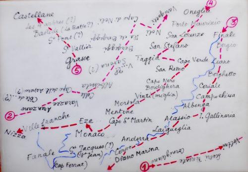L'itinéraire du voyage de Turner de Gènes à Nice est recopié en 5 sections superposées dans le désordre