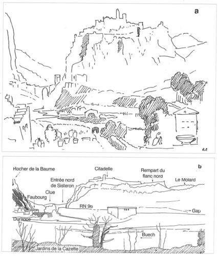 a) Croquis résumé de l'oeuvre (Roland Courtot) conservée à la Withworth art gallery de l'Université de Manchester (D.1892.115) b) Photographie du même panorama prise de la Casette (Sisteron, à la confluence de la Durance et du Buech)