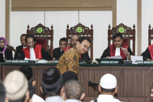 On 9 May, the North Jakarta District Court found that Basuki 'Ahok' Tjahaja Purnama had violated Article 156a of the Criminal Code (KUHP) and sentenced him to two years in prison. Photo by Dharma Wijayanto.