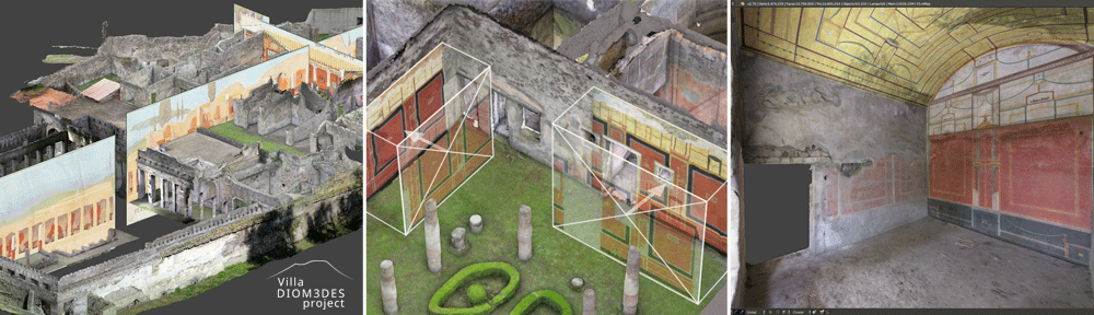 Recalage d'archives dans la villa de Diomède