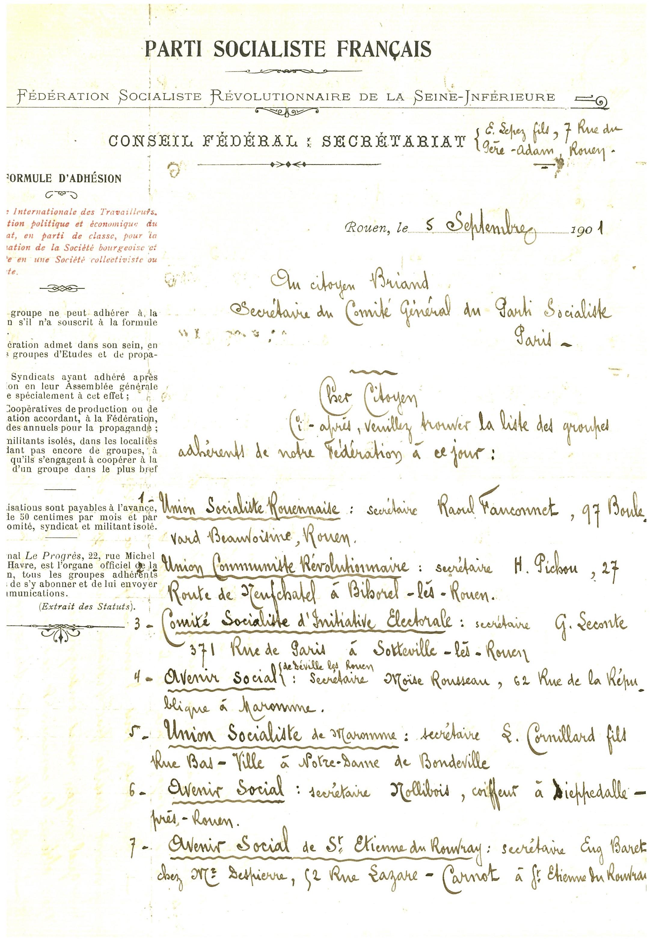 Billet. 06 Extrait des groupes adhérents à la Fédération Socialiste Révolutionnaire de Seine-Inférieure adressé à Briand