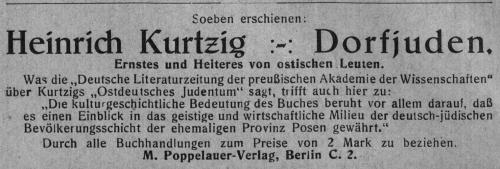 """1928 rezensierte auch die """"Deutsch Literaturzeitung der Preußischen Akademie der Wissenschaften"""" Kurtzigs Buch, was in Posener Heimatblättern angezeigt wurde. Jg. 2, Nr. 6, März 1928, S. 8"""