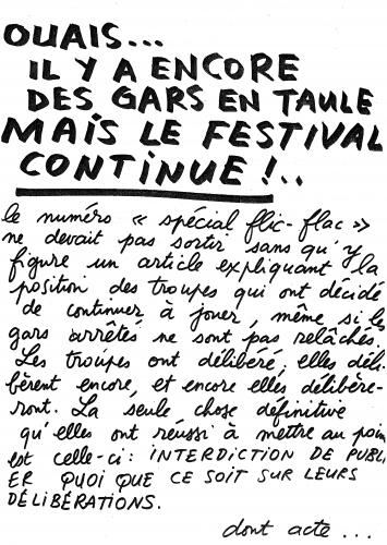 Figure 11. Un Journal du Festival, n° 5, le 2 mai 1973. Archives de Meurthe-et-Moselle, cote du document : 68J9.