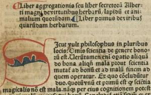Albert Le Grand, Liber aggregationis, Besançon, BM, Inc. 762, f. 1.
