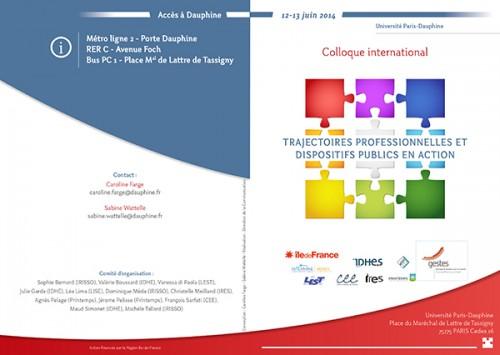 Affiche du colloque international Trajectoires profesionnelles et dispositifs publics en action