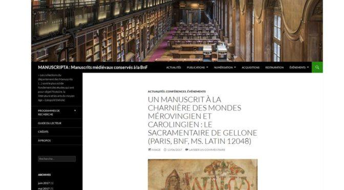 MANUSCRIPTA : nouveau carnet de recherche