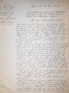 Note de l'architecte au sujet de l'éclairage de la salle de lecture (2005/028/558). © BnF, Archives administratives